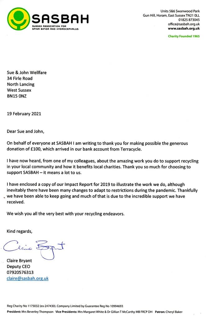 Recycling in Lancing- Thank you letter Feb 2021-SASBAH