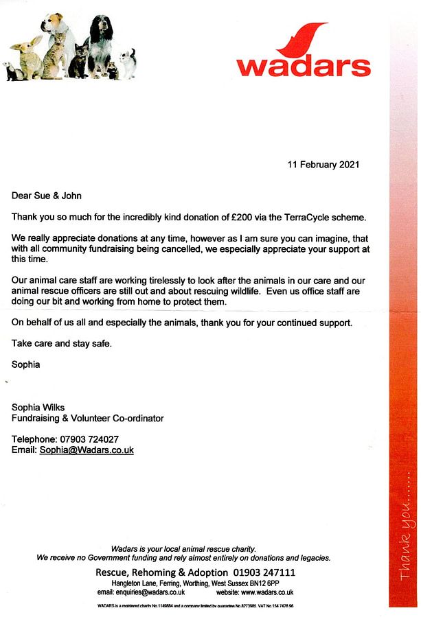 Recycling in Lancing Thak you letter WADURS Feb 21