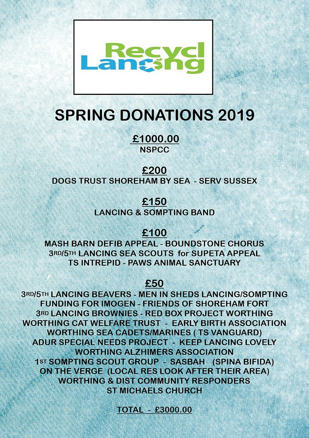 Recycling in Lancing 2019 Spring Donations