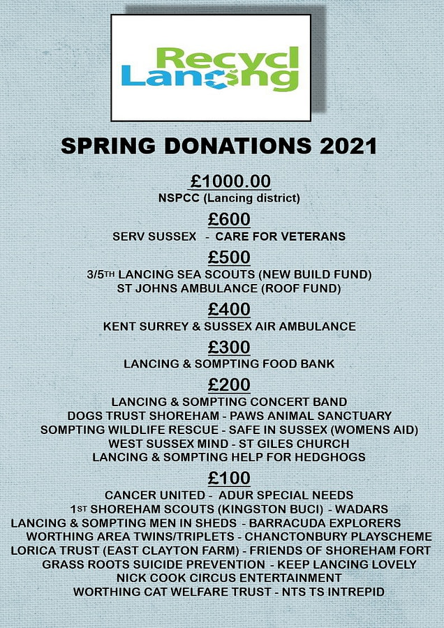Recycling in Lancing Spring donations 2021